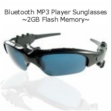 Bluetooth MP3 Player Sunglasses (Black)- 2GB Flash Memory