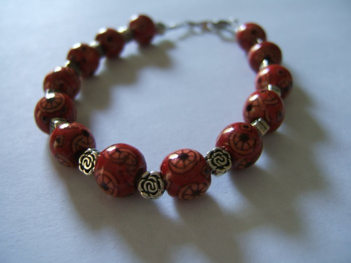Red Wooden Bead Bracelet