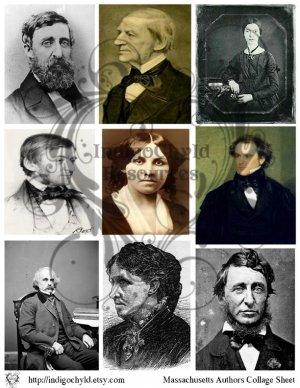 Massachusetts Authors Digital Collage Sheet
