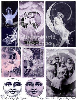Indigo Paper Moon Digital Collage Sheet