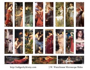 J.W.Waterhouse Microslide Digital collage sheets