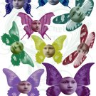 Butterfly Faces Digital Collage Sheet