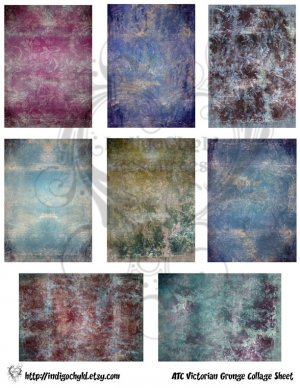 Victorian Grunge ATC Digital Collage Sheet