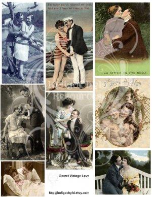 Secret Vintage Love Digital JPG Collage sheet