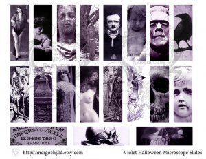 Violet Halloween Microslide Digital Collage Sheet PDF
