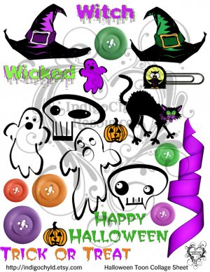 Halloween Toon Digital Collage Sheet JPG