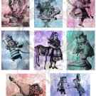 Vintage Alice in Wonderland ATC Background Digital Collage Sheet PDF