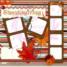 Premade Digital Scrapbooking Thanksgiving Page PNG Format