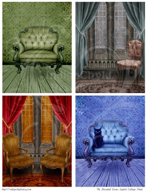 Haunted Rooms Digital Collage Sheet JPG