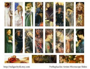 PreRaphaelite Microslide Digital Collage Sheet JPG