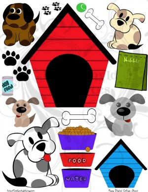 Puppies Digital Collage Sheet JPG