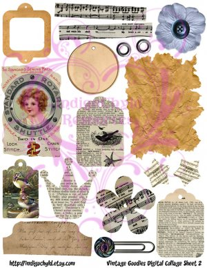 Vintage Goodies Digital Collage Sheet 2 JPG