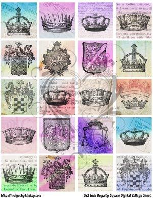 3x3 Inch Royalty Digital Collage Sheet JPG