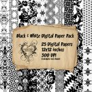 25 Black & White Digital Scrapbook Paper Pack