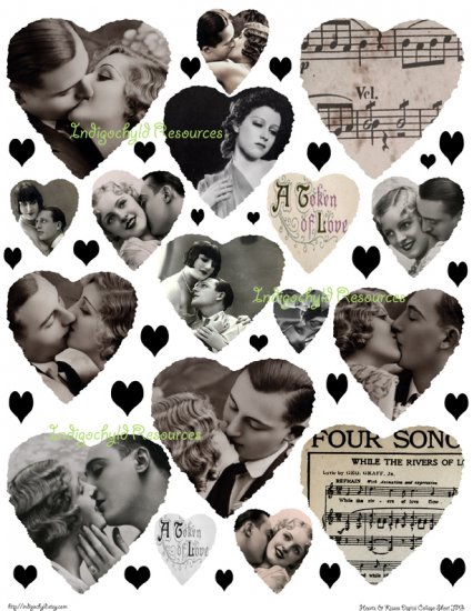 Hearts and Kisses Digital Collage Sheet JPG