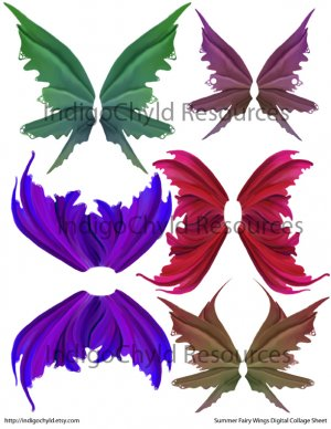 Summer Fairy Wings Digital Collage Sheet JPG