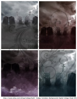 Spooky Cemetery Backgrounds Digital Collage Sheet JPG