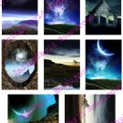 Alien Space ATC Backgrounds Digital Collage Sheet JPG