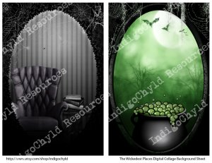 The Wickedest Places Background Digital Collage Sheet JPG