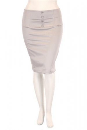 High waisted sateen pencil skirt