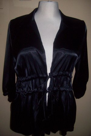 Black sateen tie top