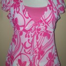White and pink paisley print 2pc top