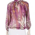 Purple sheer printed mock neck top with back tie