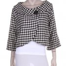 Black and white print crop jacket with blk button