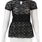 Black lace blouse with rushed waist