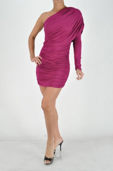 Red One shouldered ruched dress