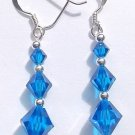 Hand Made Swarovski Capri Blue Bicone Crystal & Sterling Earrings