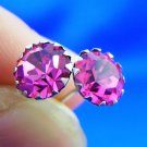Pink Crystal & 925 Sterling Stud Earrings - Free Shipping