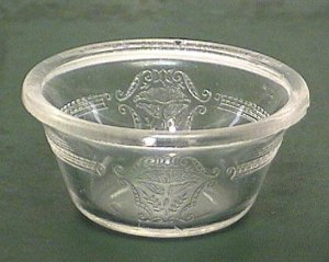 Two Glasbake Embossed Custard Cups 1920