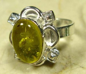 925 Sterling Silver Yellow Amber Ring Size 9.5