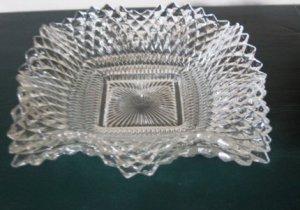 Vintage Federal Glass Diamond Point Square Bon Bon Dish
