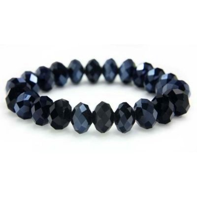 Black Faceted Crystal Beads Stretch Bracelet 8.5""