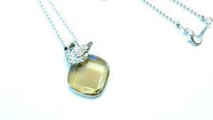 New Beautiful Swan Swarovski Golden Crystal Necklace