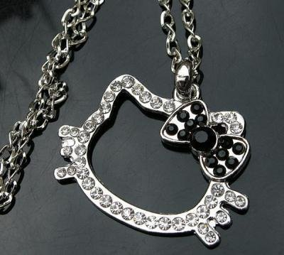 New Hello Kitty  Crystal Necklace with Black Bow