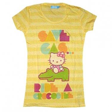 New Yellow Junior Hello Kitty Croc T-Shirt Size Small