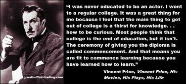 Free Thought For the Day: Vincent Price on College and Learning