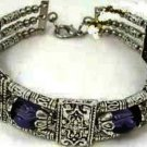 New Tibetian Silver Bracelet with Amethyst Beads