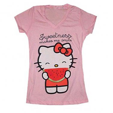 New Pink Junior Hello Kitty Sweetness Makes Me Smile Tee Shirt Size Large