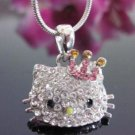 New Hello Kitty  Crystal Necklace with Pink Crown