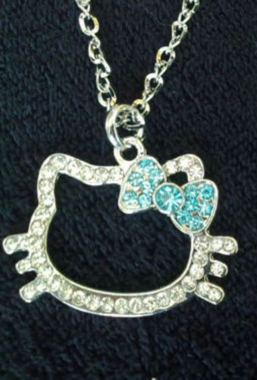 Christmas Special Hello Kitty  Crystal Necklace with Blue Bow