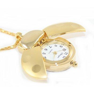 Gold Ladybug Watch Necklace