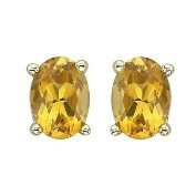 "18K Gold Plated Sterling Silver ""Yellow Topaz"" Citrine Stud Earrings"