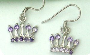 Sterling Silver Plated Purple Crown Earrings