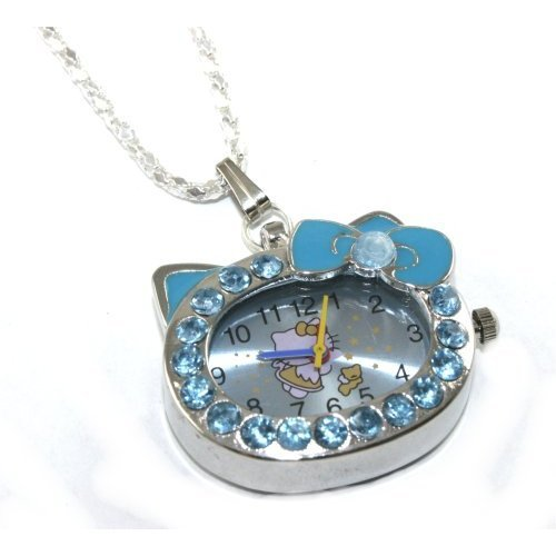 Hello Kitty Blue Crystal Watch Necklace