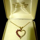 18K Gold Ruby Heart Pendant Necklace