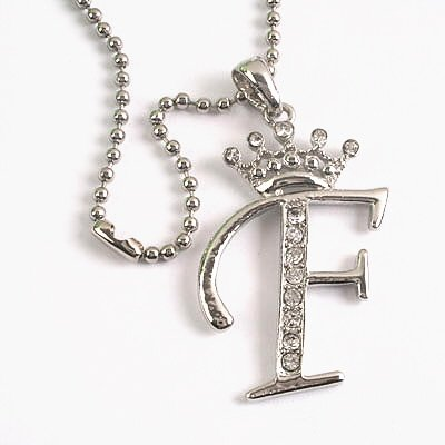 "Silver Crystal Initial ""F"" Crown Pendant Necklace"